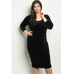 """Like Butter"" Black Velour Bodycon Cocktail Dress"